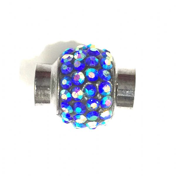 6mm- 15mm*12mm Blue AB stone pave crystal magnetic clasps - gun metal